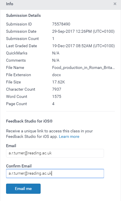 'Email me' option in Feedback Studio