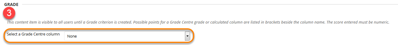 Using Adaptive Release Grade drop down menu to select grade centre column.