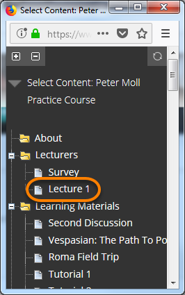 Course content pop-up window