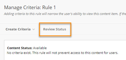 Manage Criteria: Review Status option highlighted