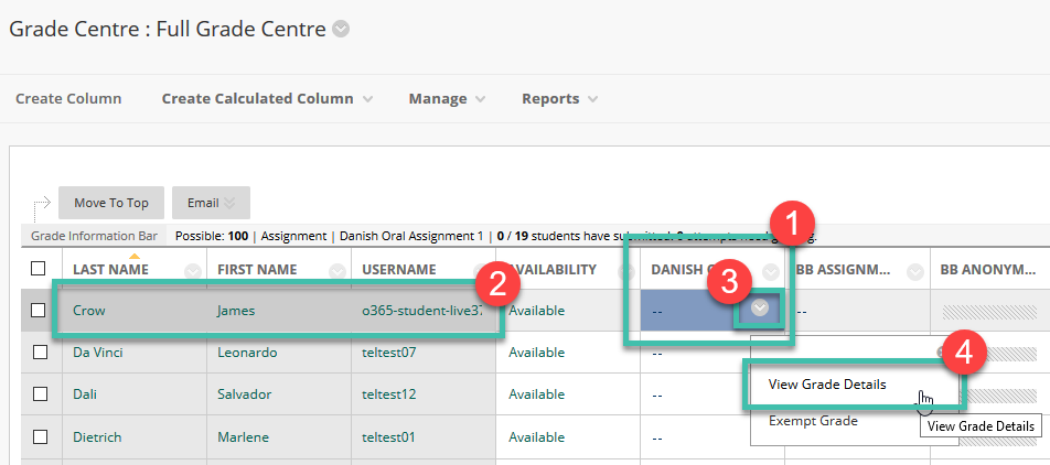 Image showing the grade Centre, Column, Cell, Chevron clicked and View Grade Details Selected.