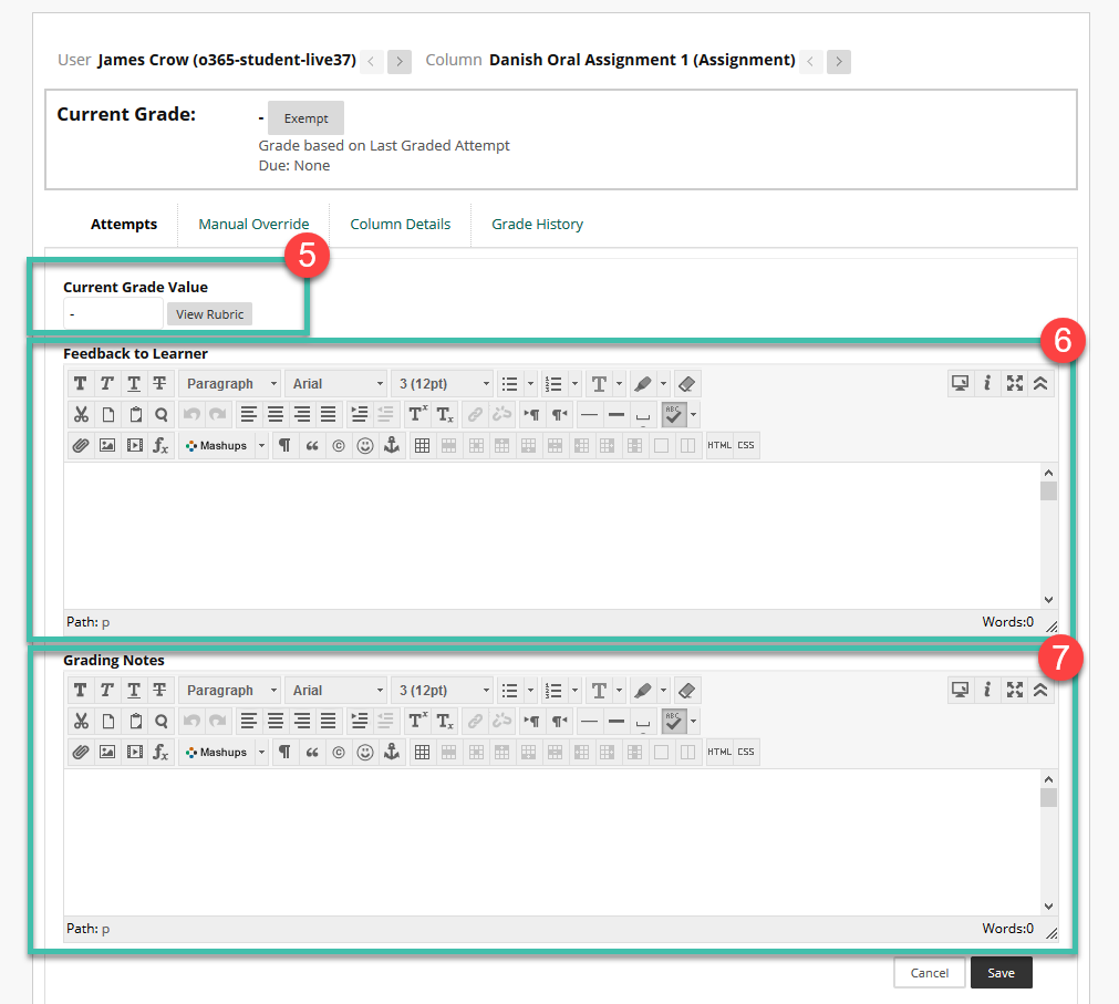 Image of the grading view - grade field, rubric button, feedback to learner and grading notes fields.
