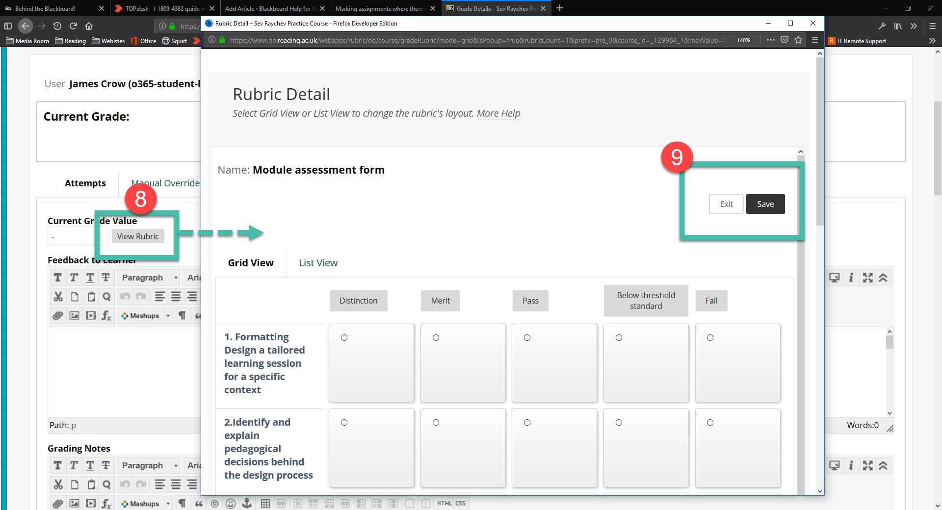 image showing rubric open