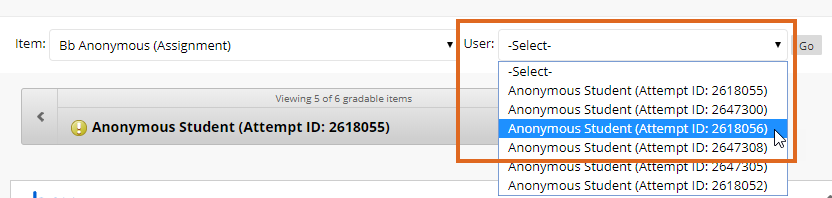 Blackboard Anonymous Marking - Jump to Attempt - select Attempt