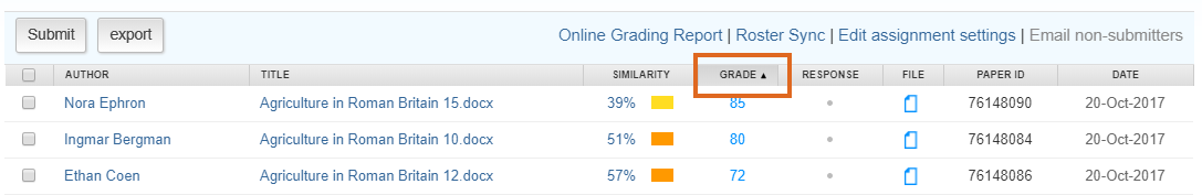 Turnitin Named Marking - sort by Grade