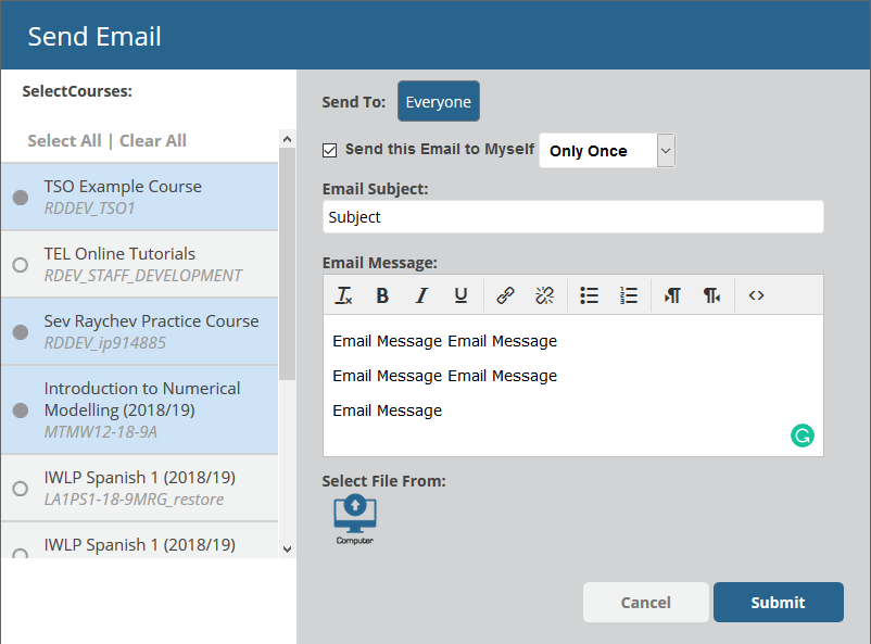Image of the new email popup with with subject and email body filled