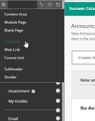 Create Tool Link in course