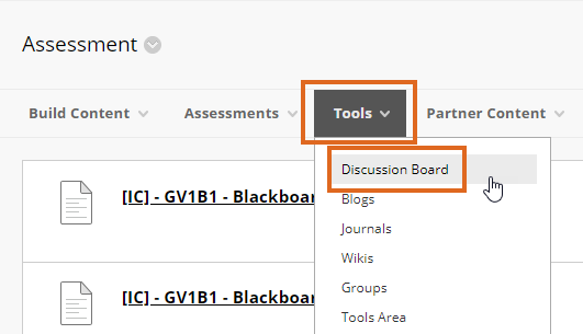 Using the Tools menu, Discussion Board option in a content area