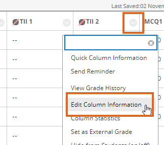 In a Turnitin column selecting Edit Column Information from drop down menu