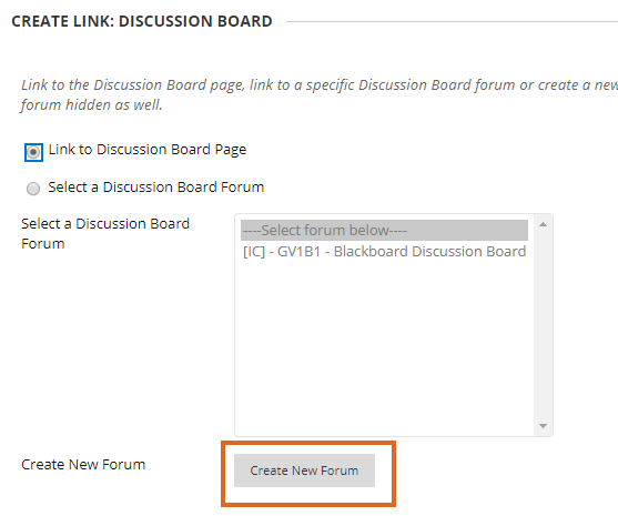 Create new forum option in the Create link page