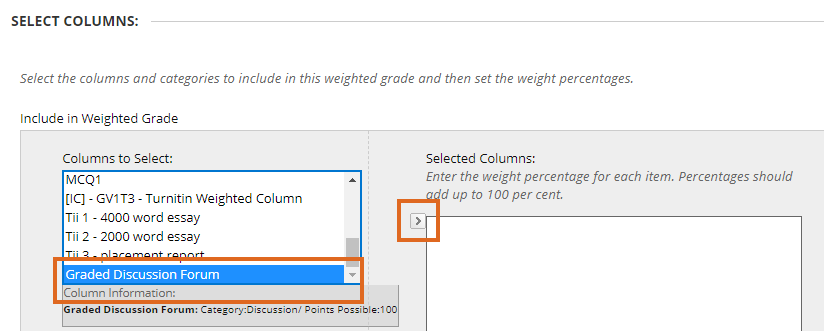 selecting the discussion board forum for the weighted column weighting