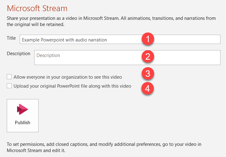 PowerPoint - Publish to Stream options