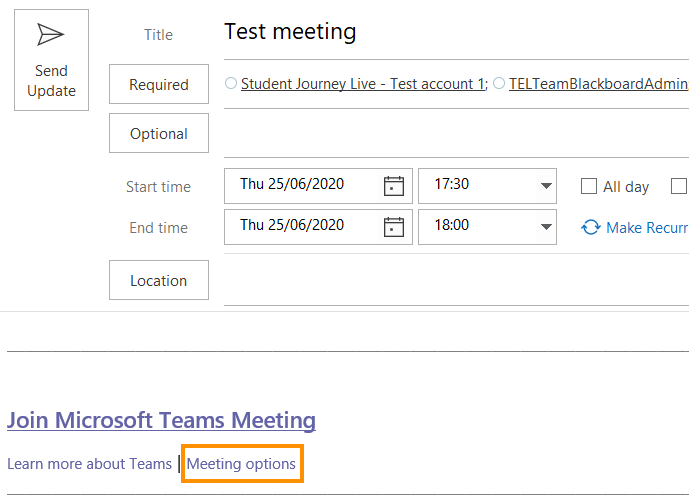 Teams meeting options in Outlook