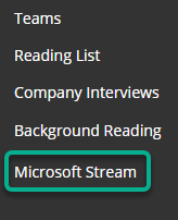 A Blackboard Course menu with Microsoft Stream link highlighted.