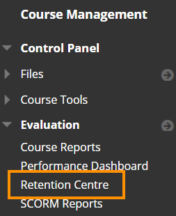 Control Panel - Retention Centre