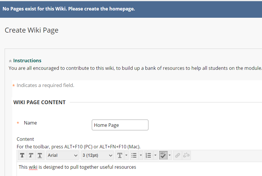 Create Wiki home page