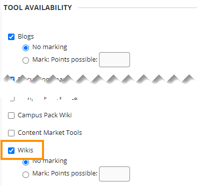 Enable wiki when setting up a course Group