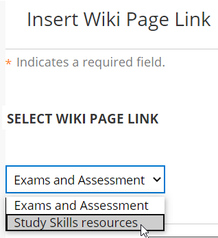 Select wiki page to link to