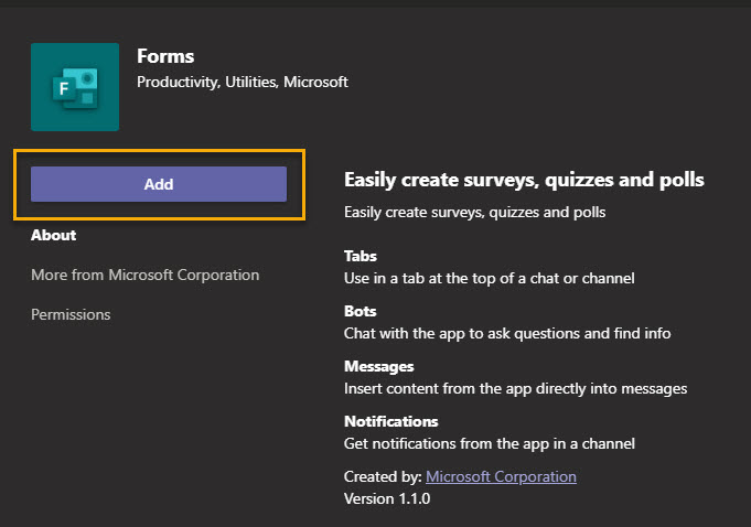 Screenshot within Microsoft Teams showing the Add Forms app button highlighted in yellow.