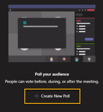 Screenshot within Microsoft Teams showing the Create New Poll button highlighted in yellow