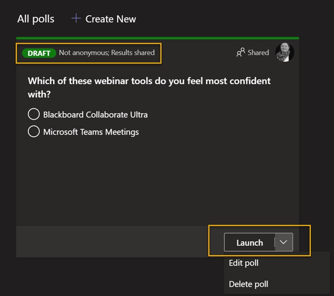 Screenshot from with Microsoft Teams showing a draft Poll and the Launch option highlighted