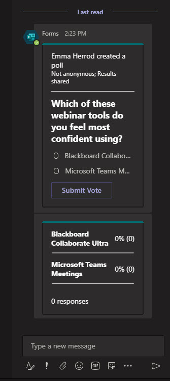 Screenshot from with Microsoft Teams showing a live Poll in the meeting chat pane