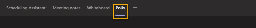Screenshot within Microsoft Teams showing an active Polls tab highlighted in yellow.