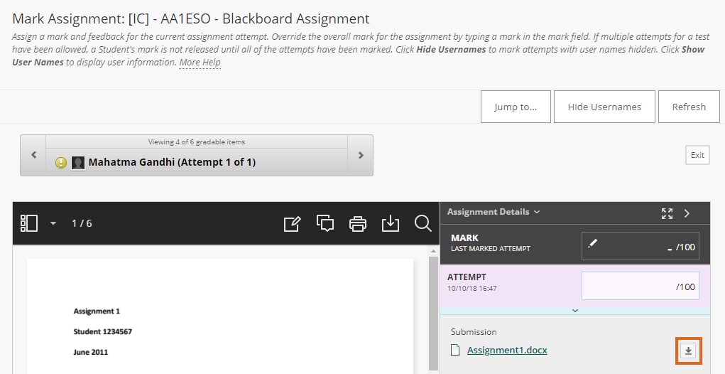 Download submitted file from a Blackboard assignment