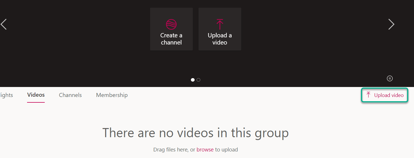 The group videos area in MS Stream. Highlighting the Upload Video button in the top right of the page.