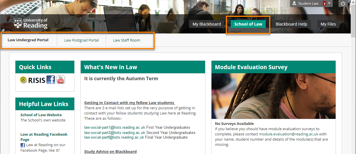 the School of Law Blackboard tab open and the sub-tabs Law Undergrad portal, Law Postgrad portal and Law Staff room highlighted.