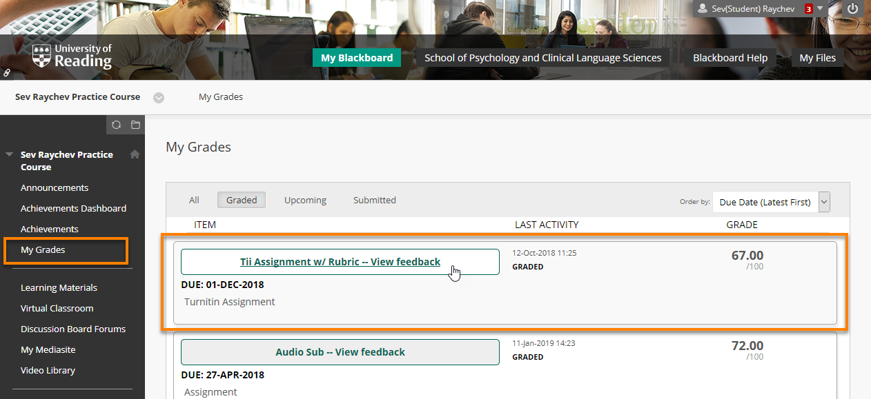 the My Grades screen in Blackboard with the View Feedback Button of a Turnitin Assignment highlighted.