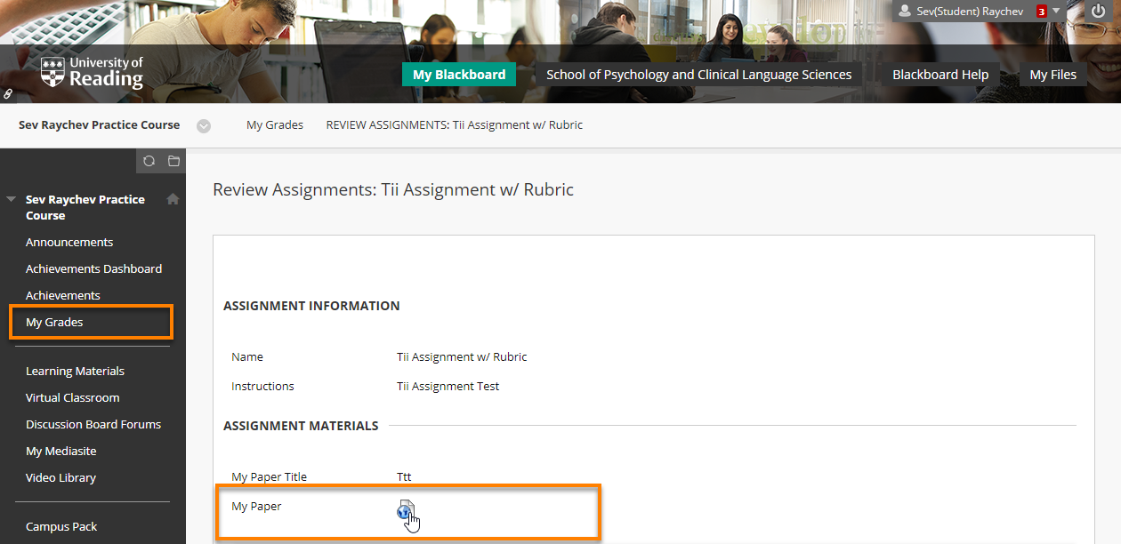 "the assignment information page with the ""my paper"" link highlighted."
