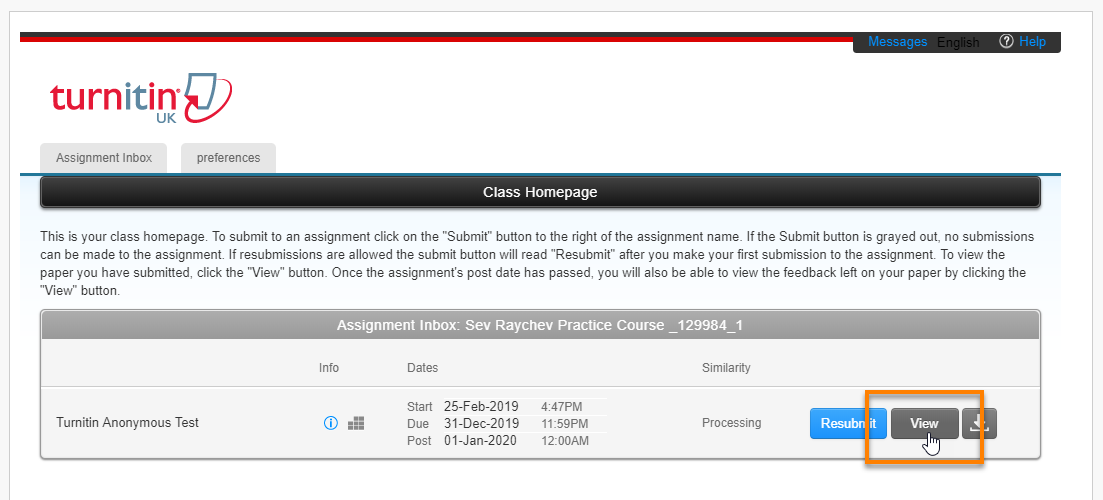 Turnitin assignment submission point with the View button highlighted.