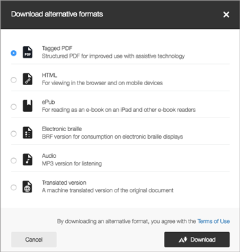 screenshot of the Download alternative formats screen