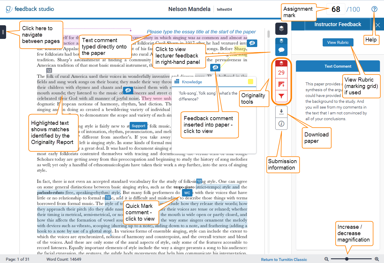 View of feedback studio annotated with features and feedback tools