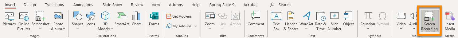 The PowerPoint Ribbon open on the Insert tab, with Screen Recording highlighted