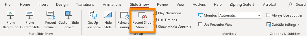The PowerPoint Ribbon open on the Slide Show tab, with Record Slide Show highlighted
