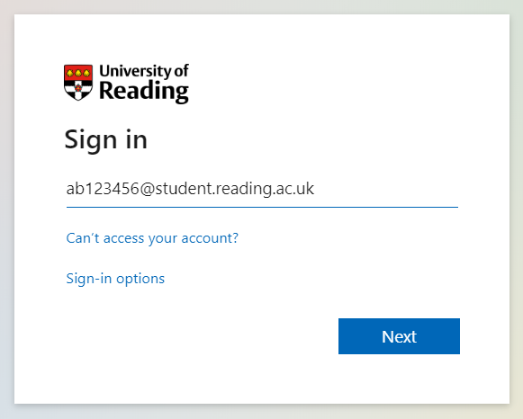 Microsoft student sign in page - screenshot