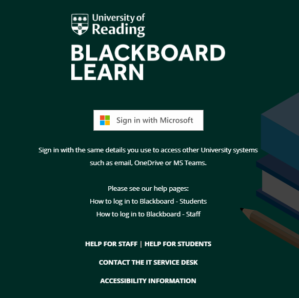 New Blackboard login page - screenshot